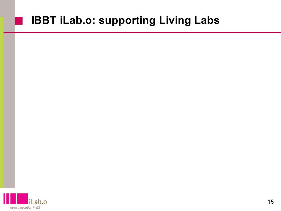 15 IBBT iLab.o: supporting Living Labs