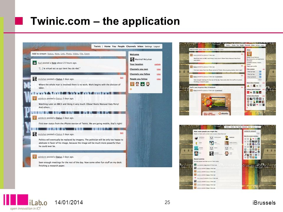 Twinic.com – the application 14/01/2014 25 iBrussels
