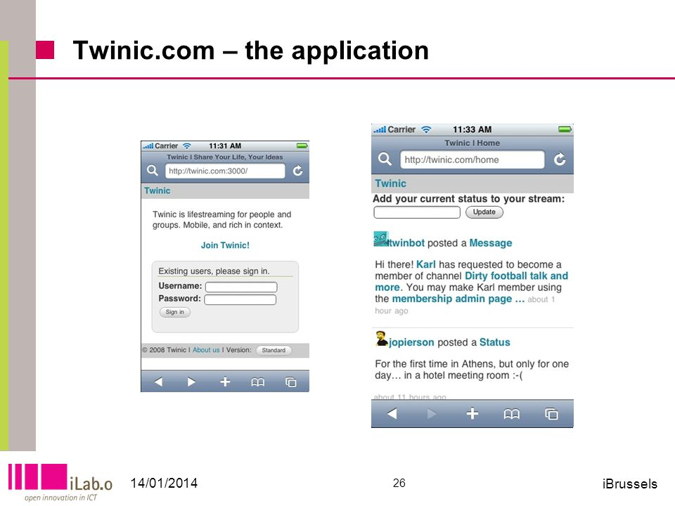 Twinic.com – the application 14/01/2014 26 iBrussels
