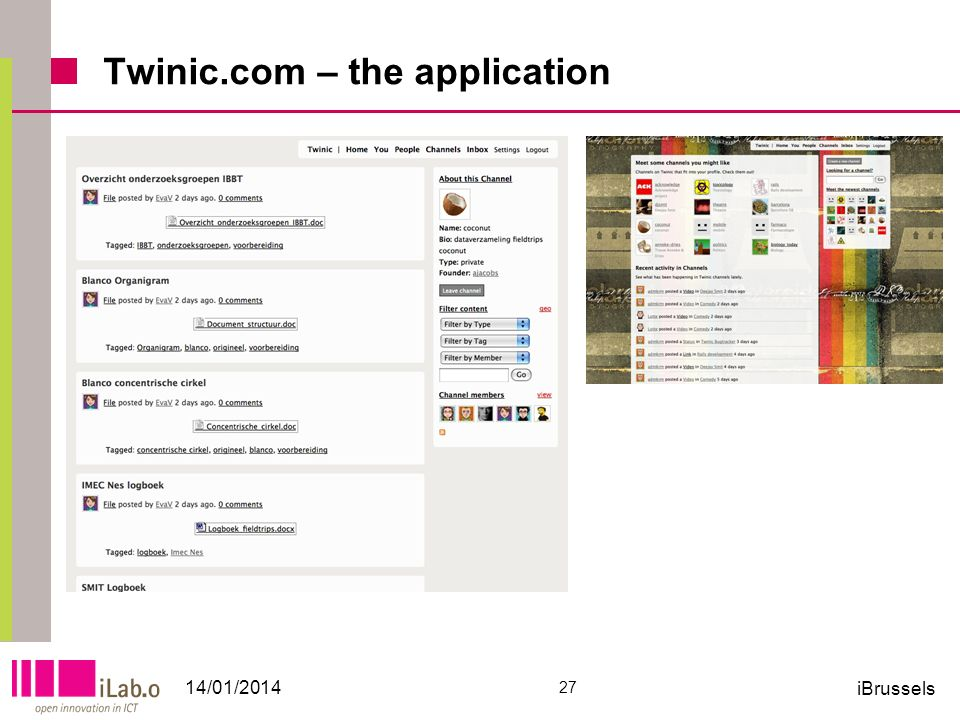 Twinic.com – the application 14/01/2014 27 iBrussels