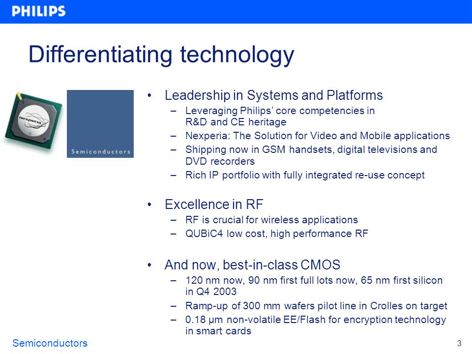 Semiconductors 3 Differentiating technology Leadership in Systems and Platforms –Leveraging Philips core competencies in R&D and CE heritage –Nexperia