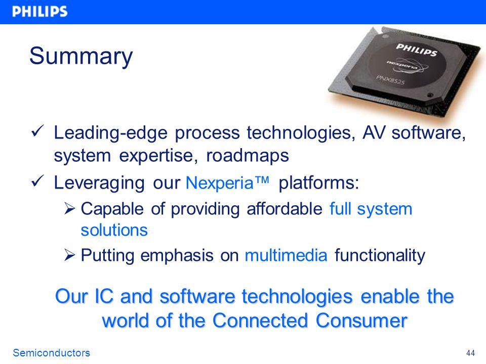 Semiconductors 44 Summary Our IC and software technologies enable the world of the Connected Consumer Leading-edge process technologies, AV software,