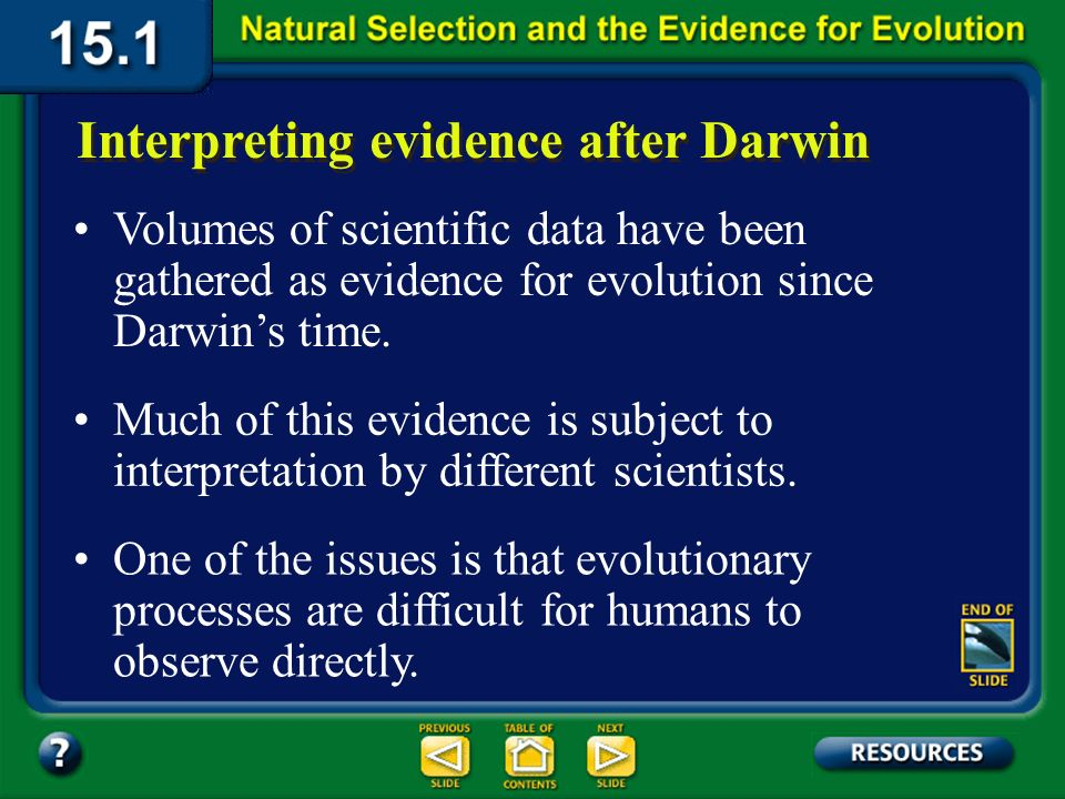 Section 15.1 Summary – pages 393-403 Darwin explains natural selection Over time, offspring with certain variations make up most of the population and may look entirely different from their ancestors.