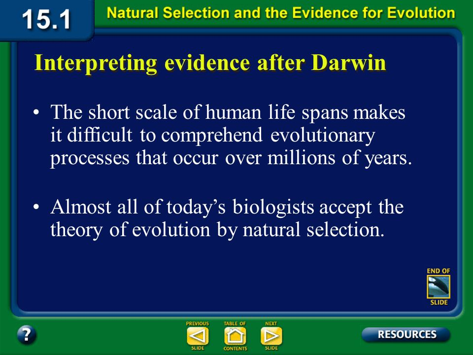 Section 15.1 Summary – pages 393-403 Interpreting evidence after Darwin Volumes of scientific data have been gathered as evidence for evolution since Darwins time.