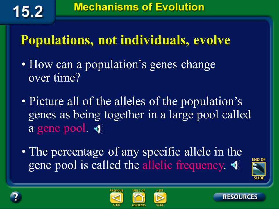 Section 15.2 Summary– pages 404-413 Natural selection acts on the range of phenotypes in a population.