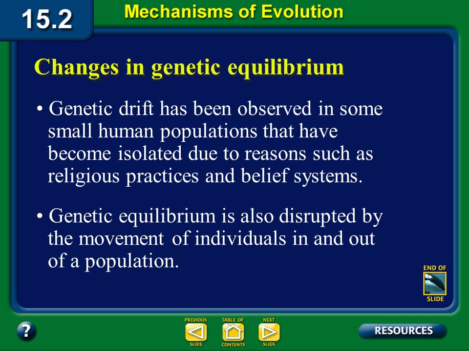Section 15.2 Summary– pages 404-413 Genetic drift can greatly affect small populations that include the descendants of a small number of organisms.
