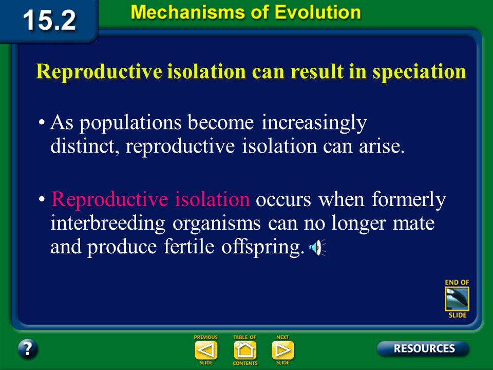 Section 15.2 Summary– pages 404-413 The Evolution of Species Over time, the divided populations may become two species that may no longer interbreed, even if reunited.