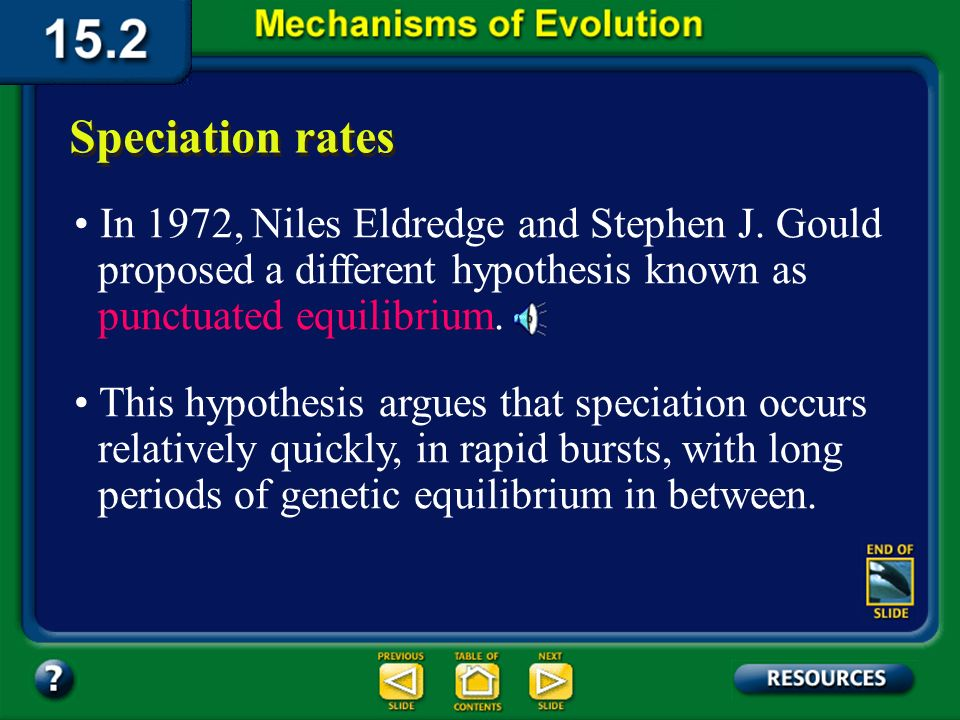Section 15.2 Summary– pages 404-413 Speciation rates Scientists once argued that evolution occurs at a slow, steady rate, with small, adaptive changes gradually accumulating over time in populations.