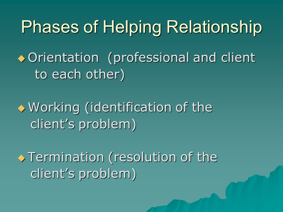Phases of Helping Relationship Orientation (professional and client Orientation (professional and client to each other) to each other) Working (identi