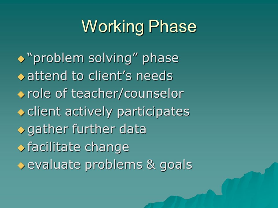 Working Phase problem solving phase problem solving phase attend to clients needs attend to clients needs role of teacher/counselor role of teacher/counselor client actively participates client actively participates gather further data gather further data facilitate change facilitate change evaluate problems & goals evaluate problems & goals