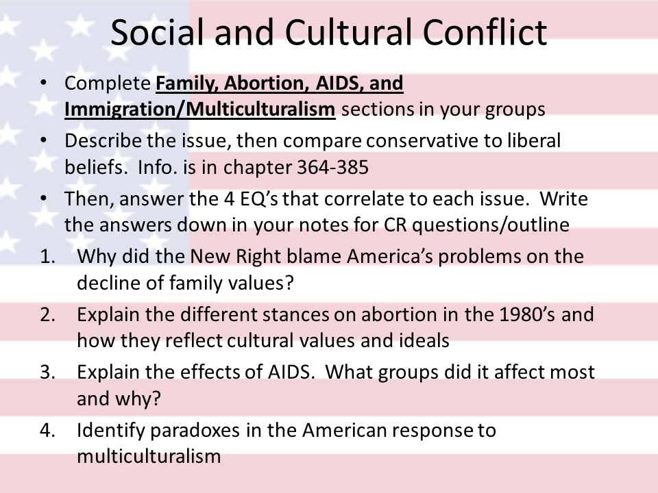 Social and Cultural Conflict Complete Family, Abortion, AIDS, and Immigration/Multiculturalism sections in your groups Describe the issue, then compare conservative to liberal beliefs.