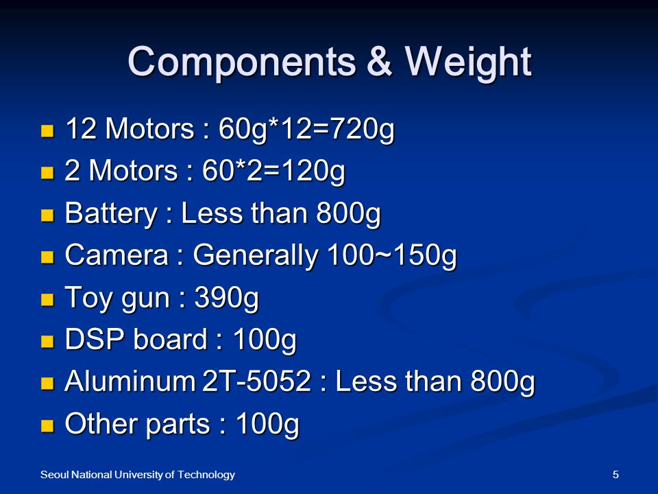 Components & Weight 12 Motors : 60g*12=720g 12 Motors : 60g*12=720g 2 Motors : 60*2=120g 2 Motors : 60*2=120g Battery : Less than 800g Battery : Less than 800g Camera : Generally 100~150g Camera : Generally 100~150g Toy gun : 390g Toy gun : 390g DSP board : 100g DSP board : 100g Aluminum 2T-5052 : Less than 800g Aluminum 2T-5052 : Less than 800g Other parts : 100g Other parts : 100g 5Seoul National University of Technology