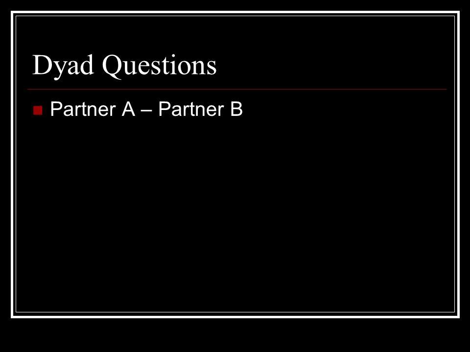 Dyad Questions Partner A – Partner B