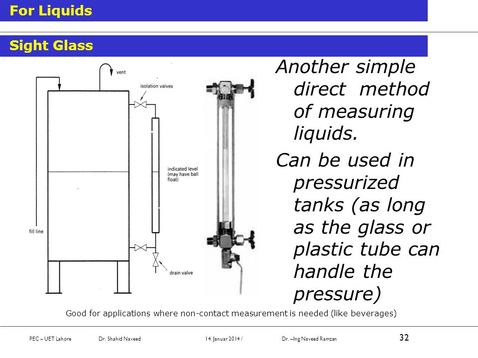 Another simple direct method of measuring liquids. Can be used in pressurized tanks (as long as the glass or plastic tube can handle the pressure) Goo