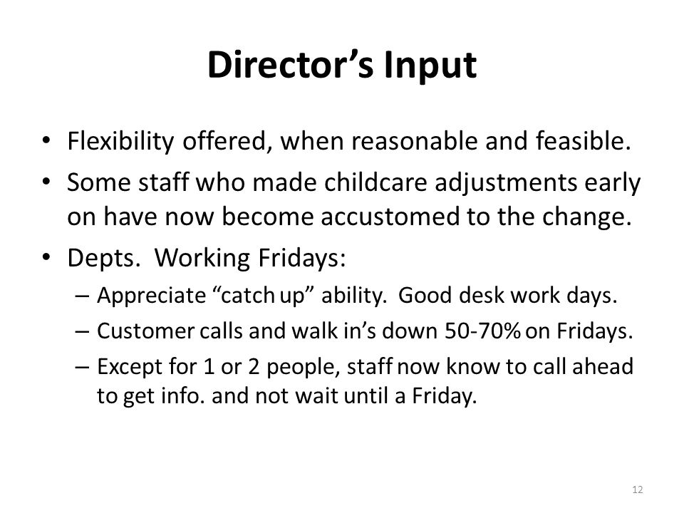 Directors Input Flexibility offered, when reasonable and feasible. Some staff who made childcare adjustments early on have now become accustomed to th