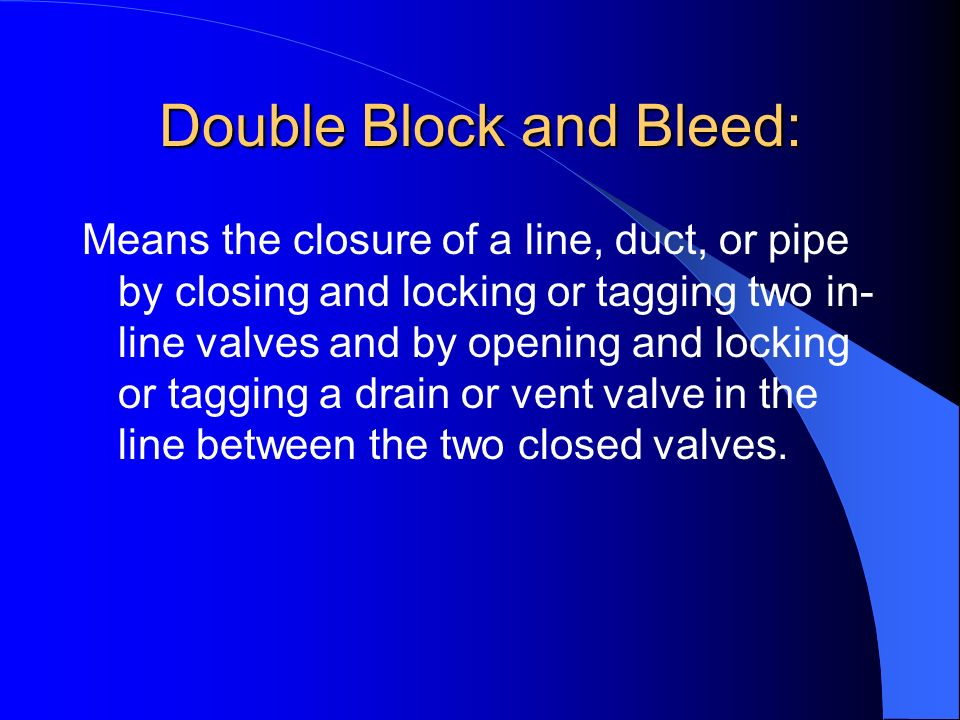 Line Blanking or Blinding: Means the absolute closure of a pipe, line, or duct by fastening of a solid plate (such as a spectacle blind or a skillet b