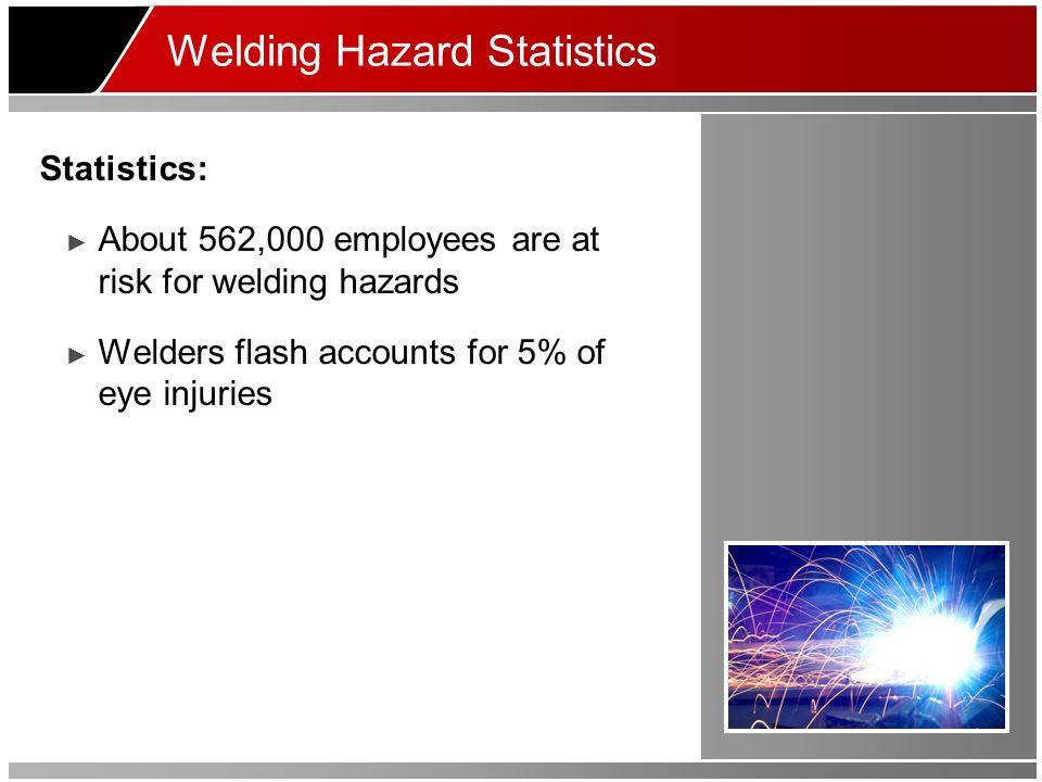 Welding Hazard Statistics Statistics: About 562,000 employees are at risk for welding hazards Welders flash accounts for 5% of eye injuries