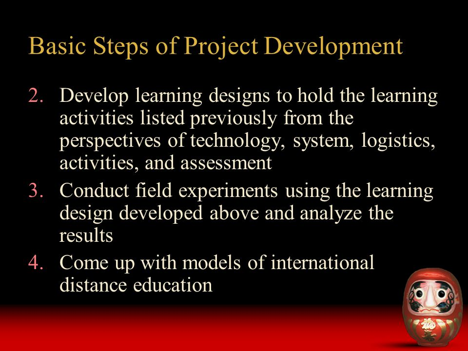 2.Develop learning designs to hold the learning activities listed previously from the perspectives of technology, system, logistics, activities, and assessment 3.Conduct field experiments using the learning design developed above and analyze the results 4.Come up with models of international distance education Basic Steps of Project Development