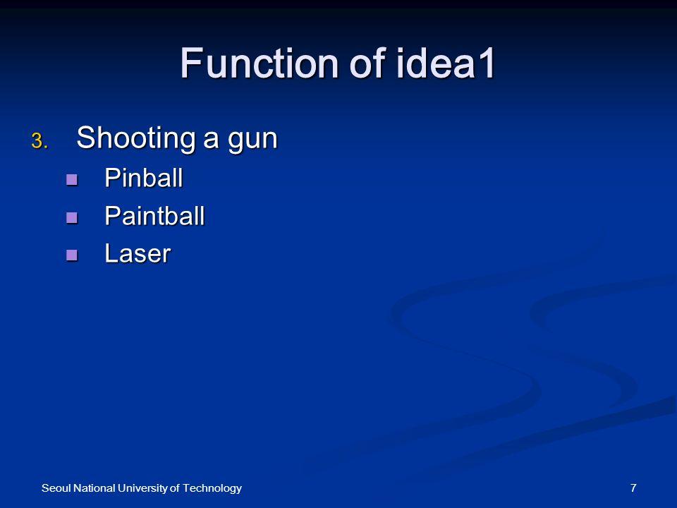 Function of idea1 Shooting a gun Shooting a gun Pinball Pinball Paintball Paintball Laser Laser 7Seoul National University of Technology