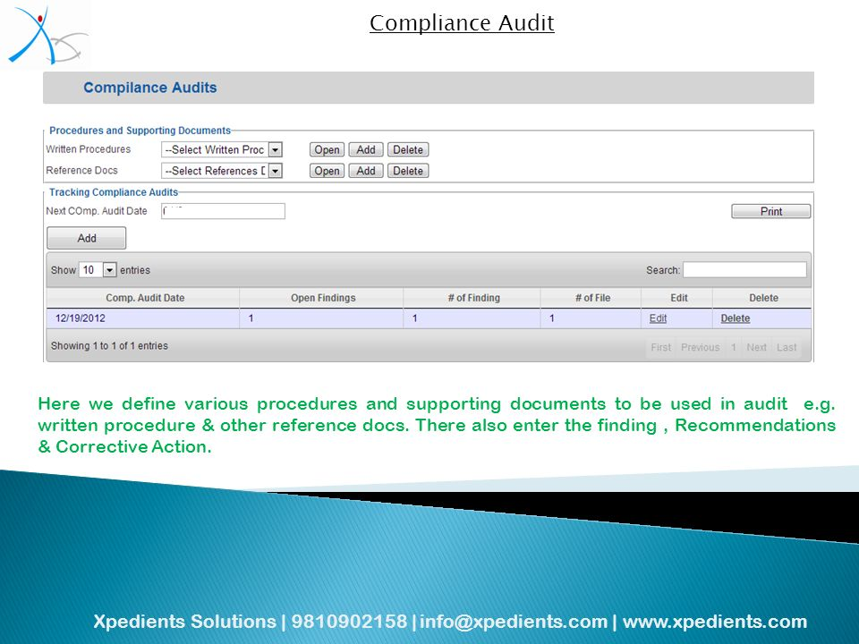 Xpedients Solutions | | |   Compliance Audit Here we define various procedures and supporting documents to be used in audit e.g.