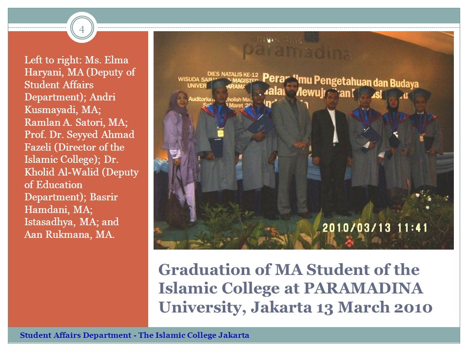 Graduation of MA Student of the Islamic College at PARAMADINA University, Jakarta 13 March 2010 Left to right: Ms.