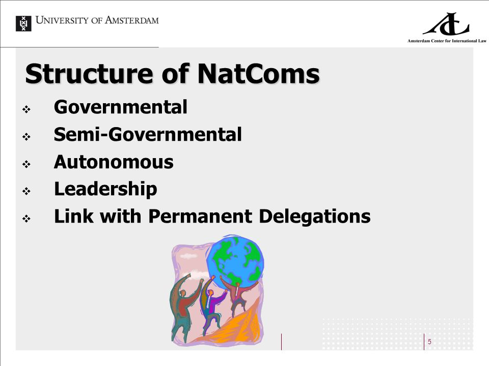 5 Structure of NatComs Governmental Semi-Governmental Autonomous Leadership Link with Permanent Delegations