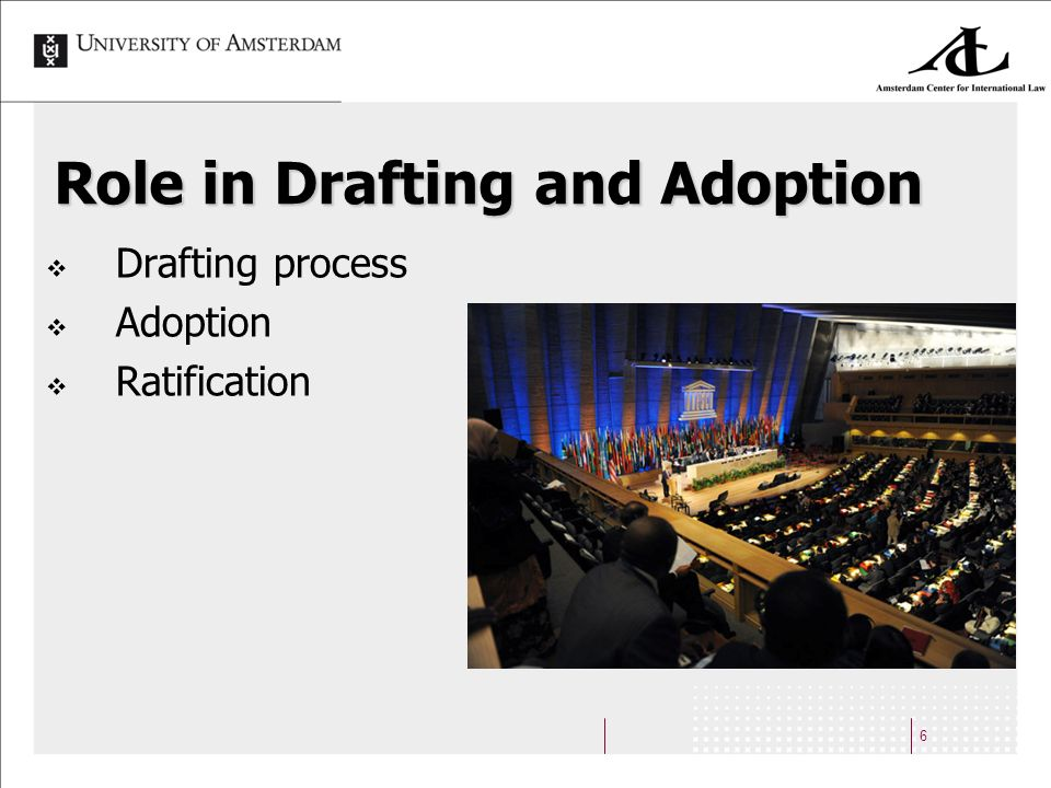 6 Role in Drafting and Adoption Drafting process Adoption Ratification