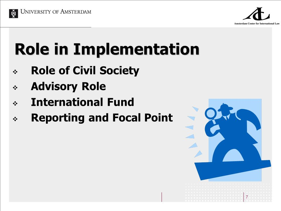 7 Role in Implementation Role of Civil Society Advisory Role International Fund Reporting and Focal Point