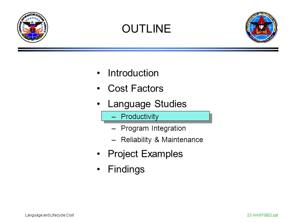 Language and Lifecycle Cost23 mm970822.ppt Introduction Cost Factors Language Studies –Productivity –Program Integration –Reliability & Maintenance Pr