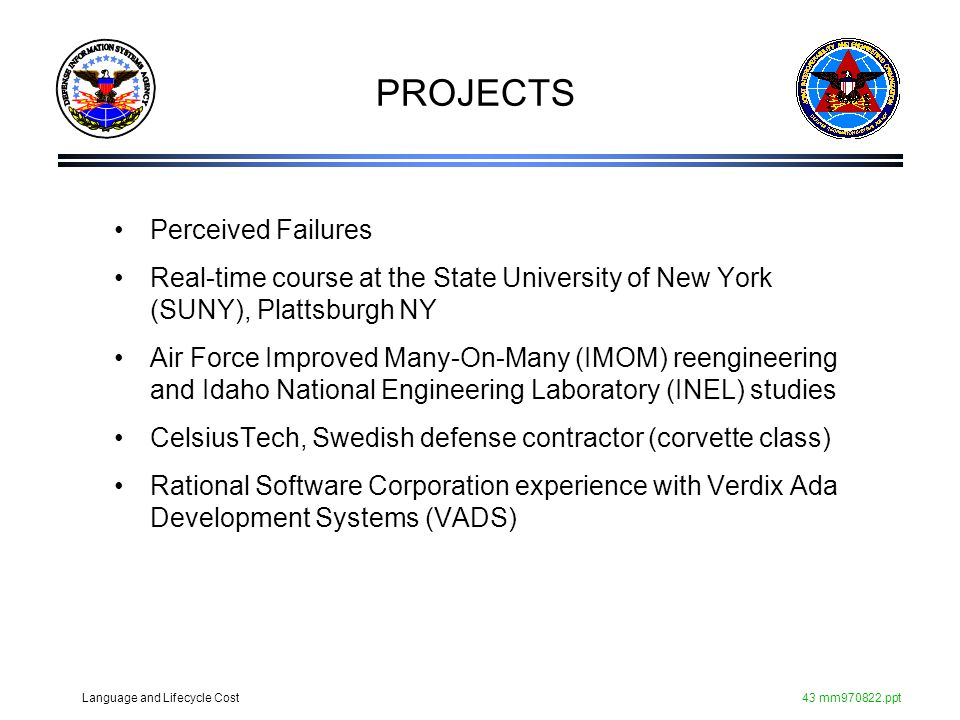 Language and Lifecycle Cost43 mm970822.ppt PROJECTS Perceived Failures Real-time course at the State University of New York (SUNY), Plattsburgh NY Air