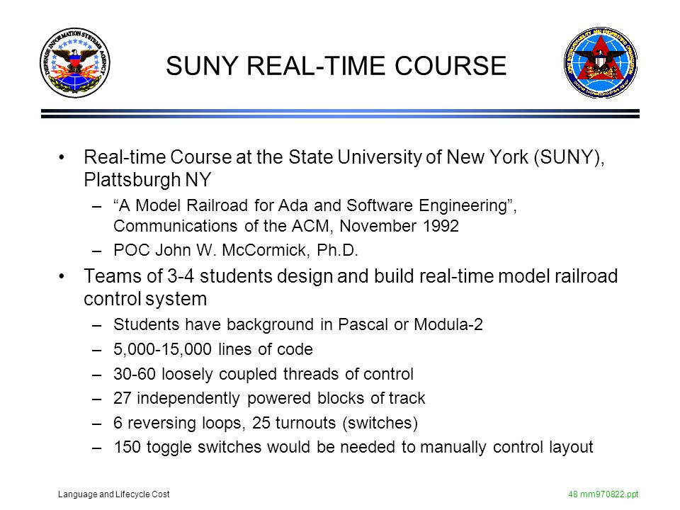 Language and Lifecycle Cost48 mm970822.ppt SUNY REAL-TIME COURSE Real-time Course at the State University of New York (SUNY), Plattsburgh NY –A Model