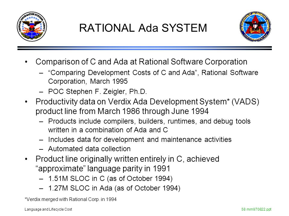 Language and Lifecycle Cost58 mm970822.ppt Comparison of C and Ada at Rational Software Corporation –Comparing Development Costs of C and Ada, Rationa
