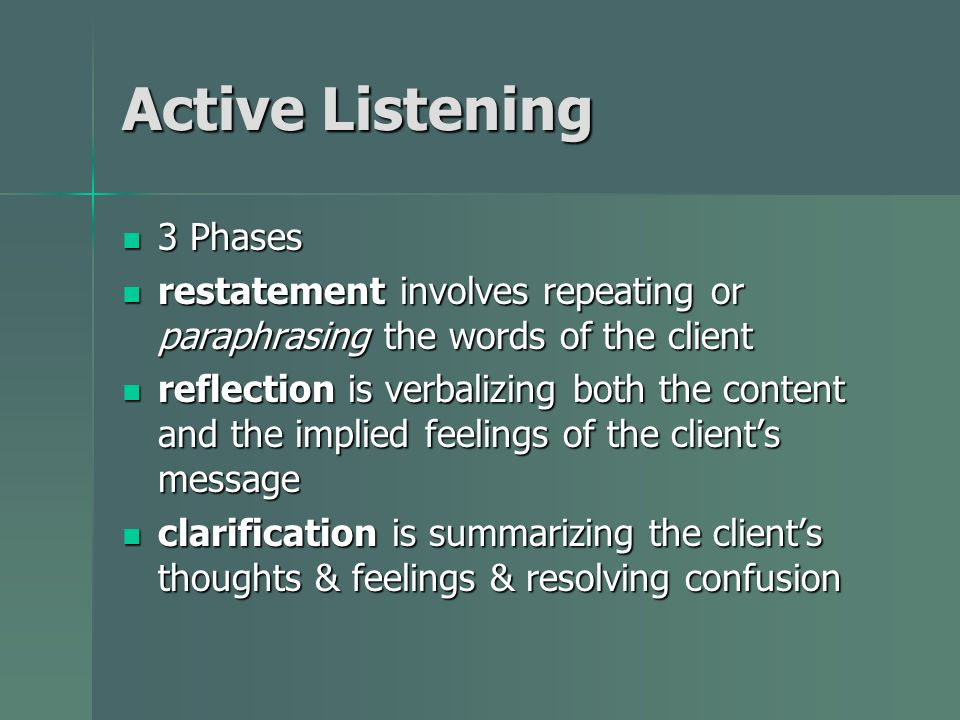 Active Listening 3 Phases 3 Phases restatement involves repeating or paraphrasing the words of the client restatement involves repeating or paraphrasi