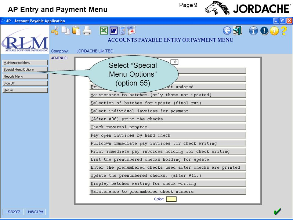 Page 9 AP Entry and Payment Menu Select Special Menu Options (option 55)