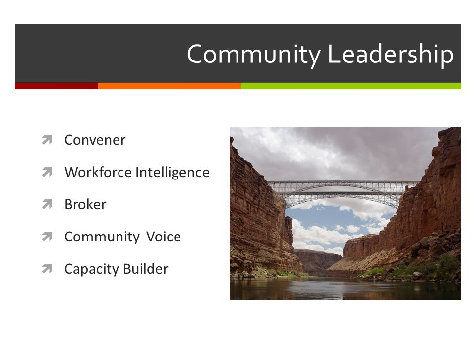 Community Leadership Convener Workforce Intelligence Broker Community Voice Capacity Builder