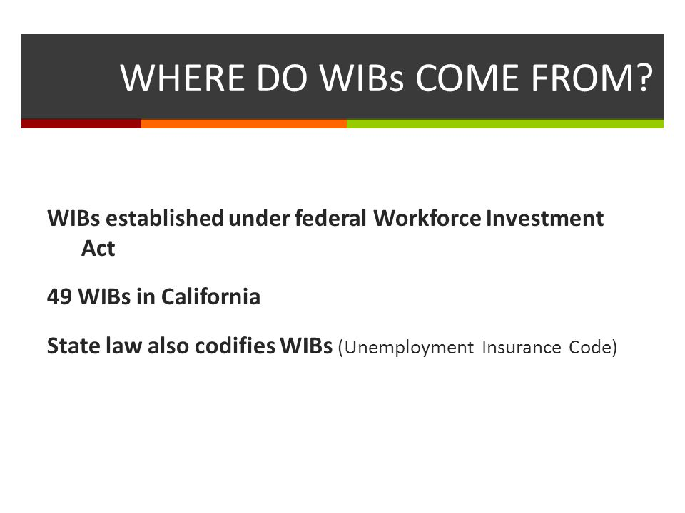 WIBs and Workforce Areas Criteria for becoming a workforce area: Population single unit of government over 500,000 = automatic Population over 250,000 and single unit of government = with certain conditions Governors discretion Pros and cons of regional strategy vs governance
