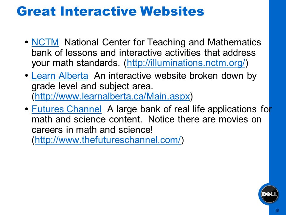 18 Great Interactive Websites NCTM National Center for Teaching and Mathematics bank of lessons and interactive activities that address your math stan