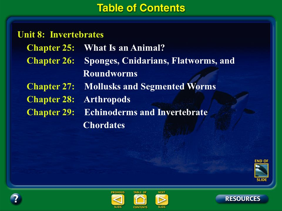 Table of Contents – pages iv-v Unit 8: Invertebrates Chapter 25: What Is an Animal.