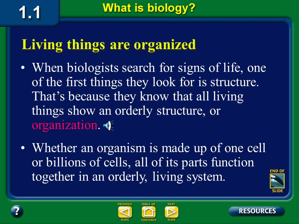 Section 1.1 Summary – pages 3-10 All living things: have an orderly structure produce offspring grow and develop adjust to changes in the environment