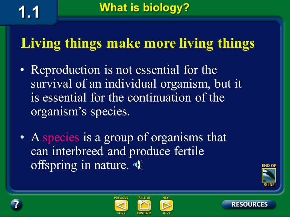 Section 1.1 Summary – pages 3-10 One of the most obvious of all the characteristics of life is reproduction, the production of offspring. Living thing