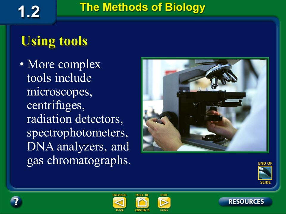 Section 1.2 Summary – pages 11-18 Biologists use a variety of tools to obtain information in an investigation. Using tools Common tools include beaker