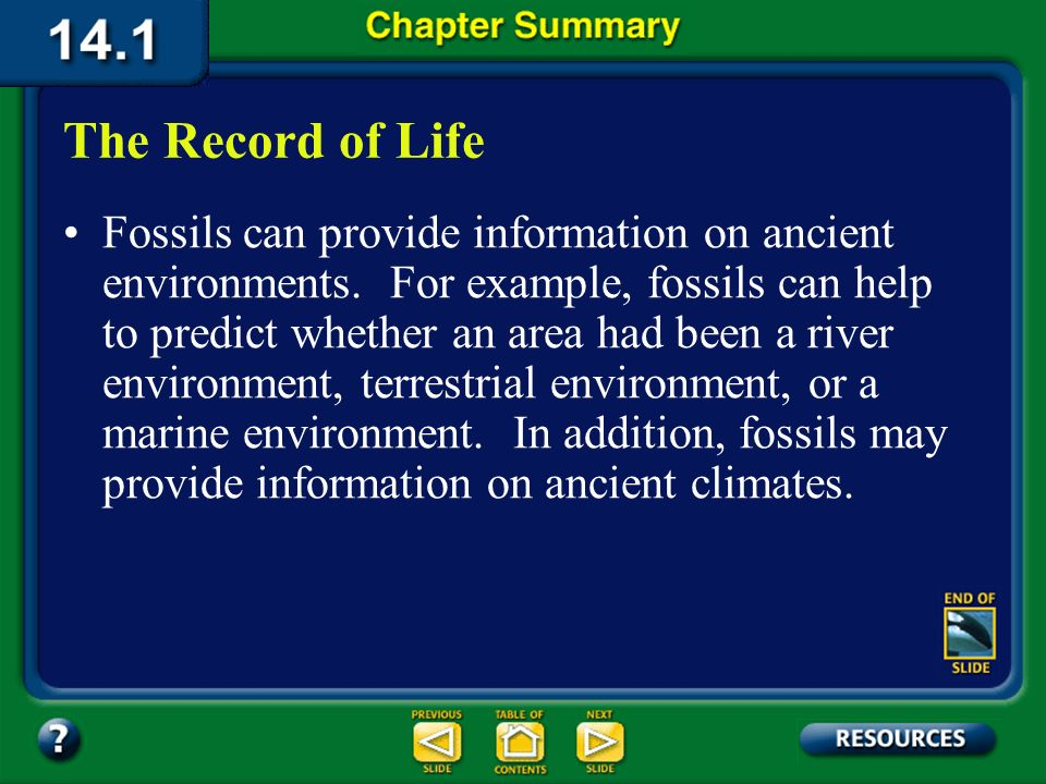 Chapter Summary – 14.1 Fossils provide a record of life on Earth. Fossils come in many forms, such as a leaf imprint, a worm burrow, or a bone. The Re