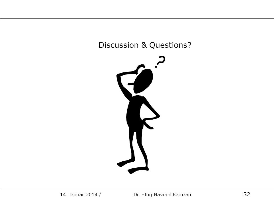 Discussion & Questions? 14. Januar 2014 / Dr. –Ing Naveed Ramzan 32