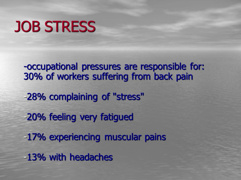 JOB STRESS -occupational pressures are responsible for: 30% of workers suffering from back pain -28% complaining of