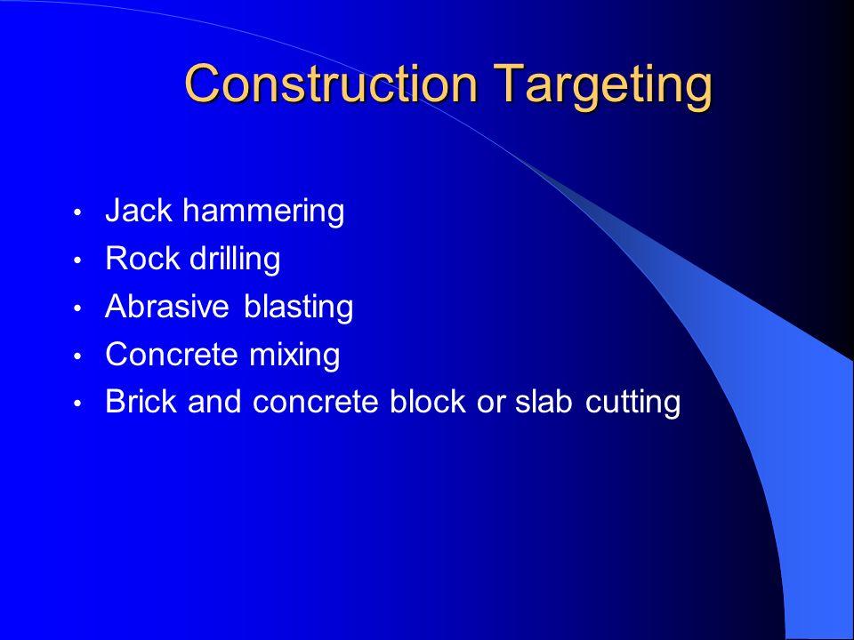 Construction Targeting Jack hammering Rock drilling Abrasive blasting Concrete mixing Brick and concrete block or slab cutting