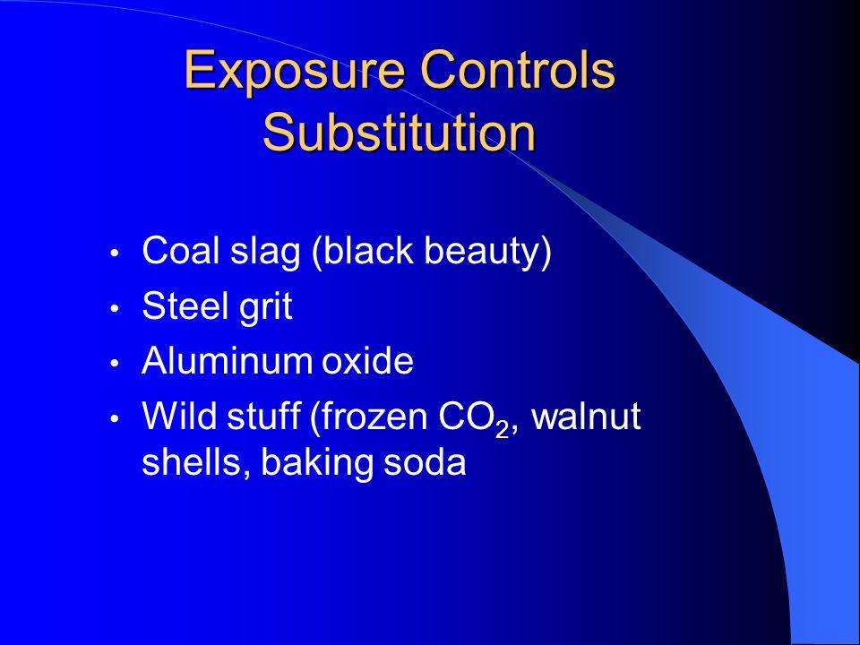 Exposure Controls Substitution Coal slag (black beauty) Steel grit Aluminum oxide Wild stuff (frozen CO 2, walnut shells, baking soda