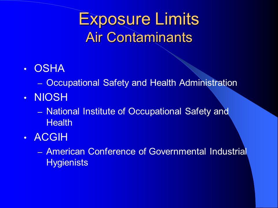 Exposure Limits Air Contaminants OSHA – PEL, STEL, Ceiling NIOSH – TWA, STEL, Ceiling ACGIH – TWA, STEL, Ceiling