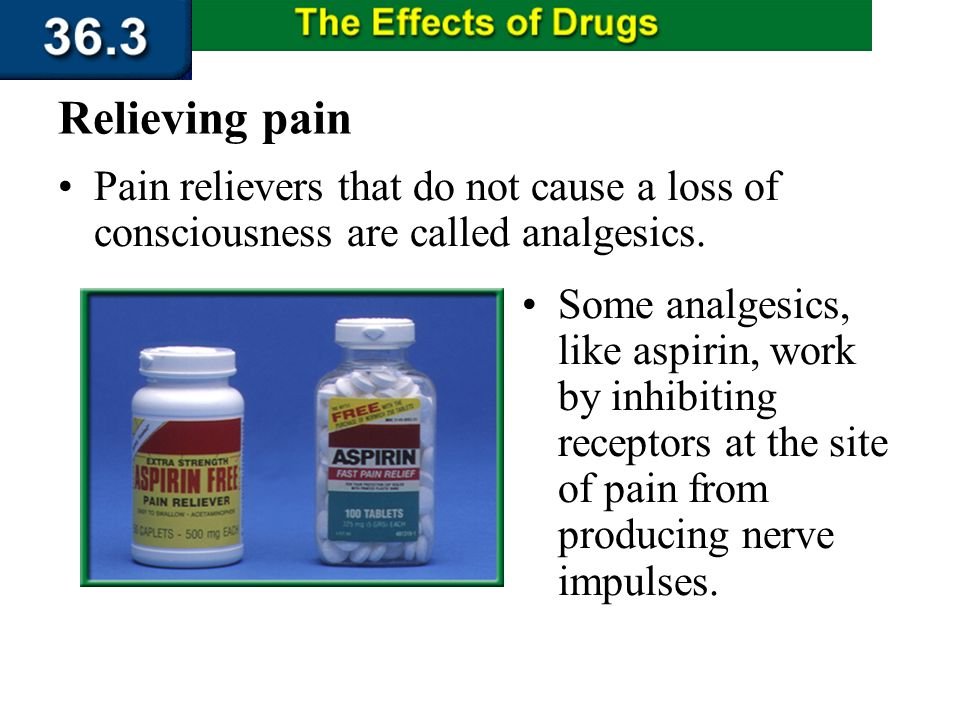 Section 36.3 Summary – pages 956 - 963 Medicines that relieve pain manipulate either the receptors that initiate the impulses or the central nervous s
