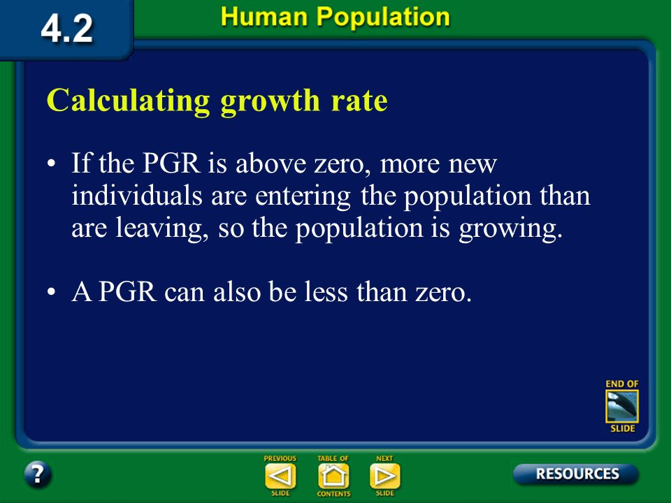 Section 4.2 Summary – page 100-103 Movement out of a population is emigration. Birthrate – Death rate = Population Growth Rate (PGR) If the birth rate