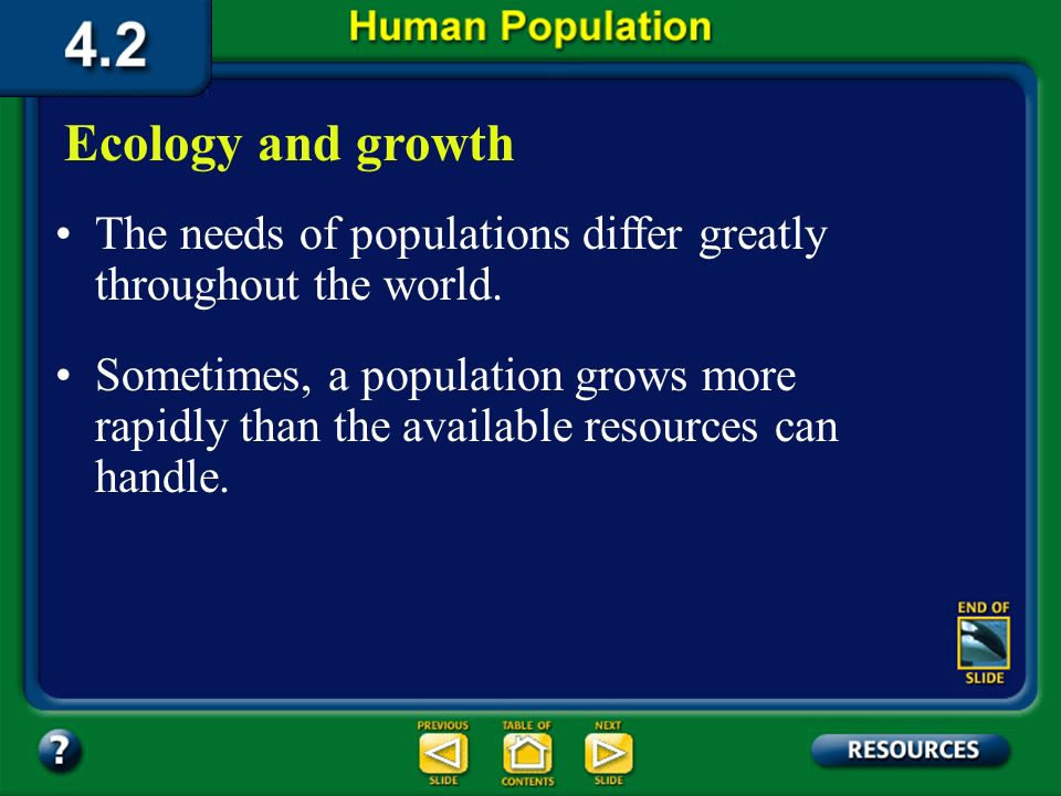 Section 4.2 Summary – page 100-103 Age structure Population Distribution Per Age Range for Several Countries Age Stable growth Rapid growth Slow growt